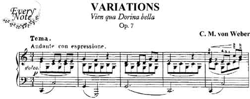 Variations on Vien Qua Dorina Bella, Op. 7